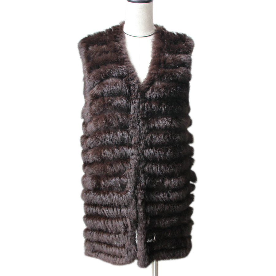 Harppihop 2019 natural rabbit fur knitted vests  new six color good quality lady Rex fur jackets underwaist sleeveless fur vest