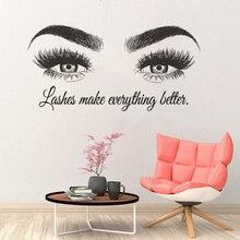 Wall-Decal Lash-Bar-Decor Eyelashes-Extension Beauty Salon Vinyl Custom AZ491 Text Maky-Up