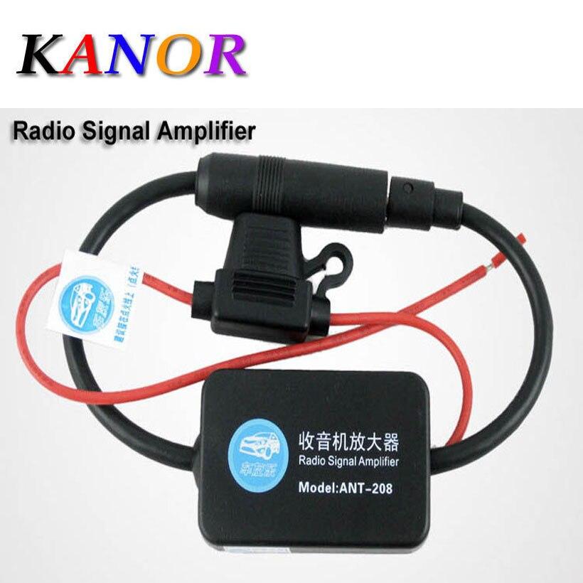 Car Aerial Antenna 12V Car Automobile Radio Signal Amplifier ANT-208 Auto FM/AM Antenna Booster Windshield Mount Antenna Aerials
