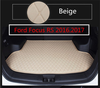 Auto Cargo Liner Car Trunk Mats For Ford Focus RS 2016 2017 2018 Boot Mat High Quality Top Layer Embroidery Leather