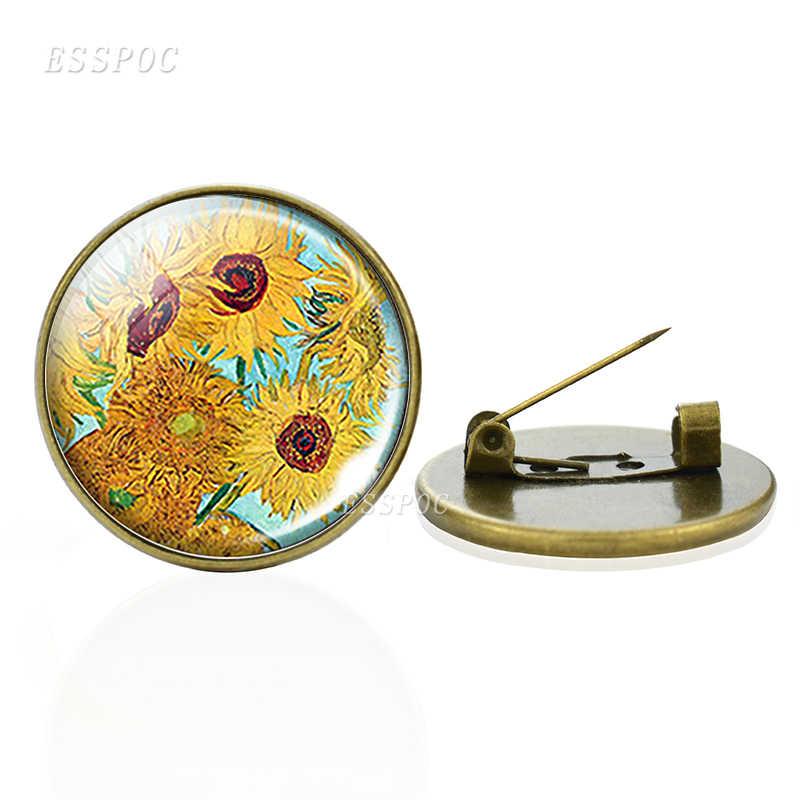 Van Gogh Bros Art Starry Night Bunga Matahari Pin Bros Pria Wanita Kaca Cabochon Perhiasan Tas Perunggu Bros Hadiah Dropshipping