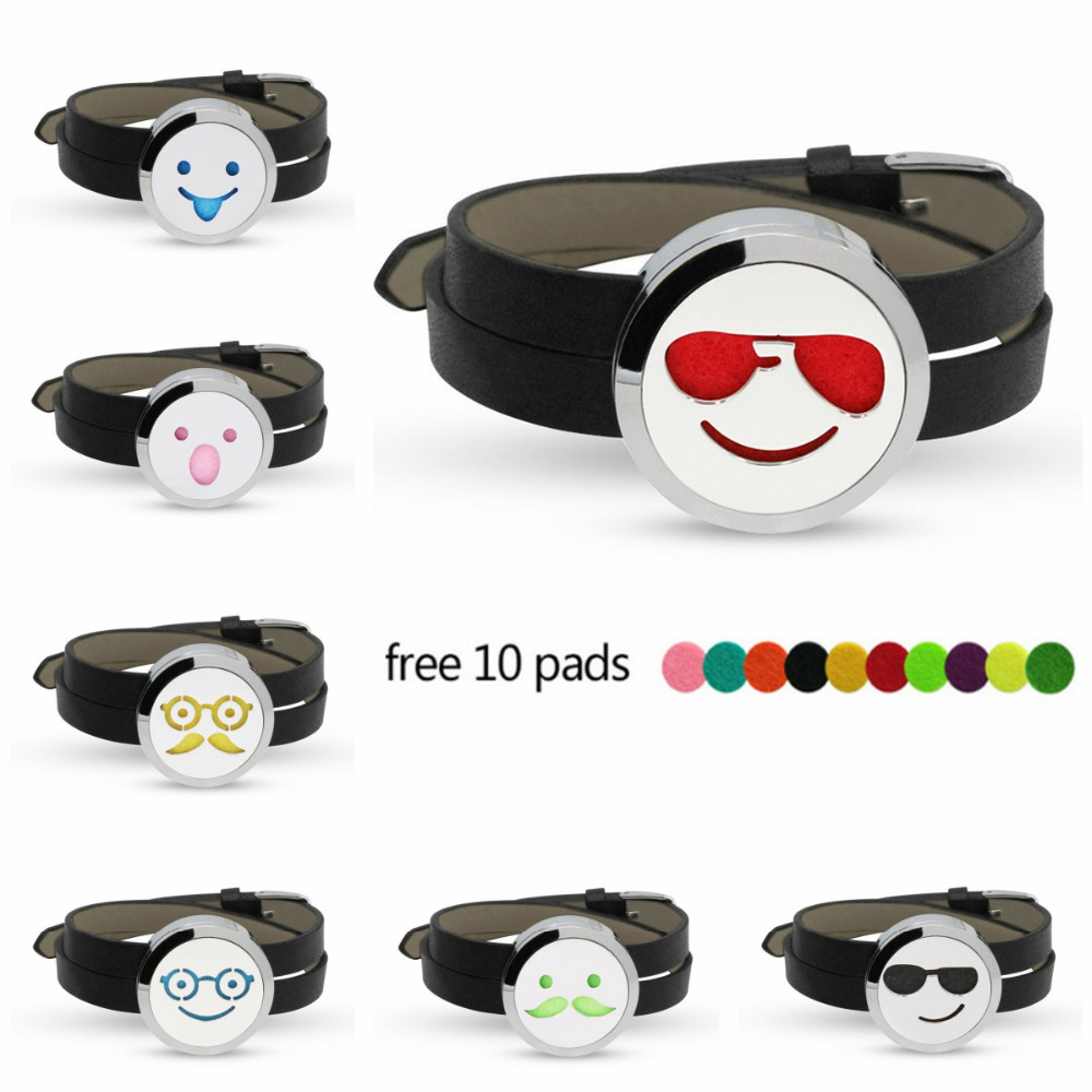 Lovely Face Expression 316L Stainless Steel Bracelet 30mm Aroma Perfume Diffuser Locket Bracelet PU Leather Band 10pcs Pads
