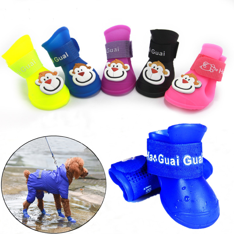 4pcs Pet Dog Shoes Waterproof Anti-slip Rain Snow Boots Footwear Summer For Small Cat Puppy Pet Products