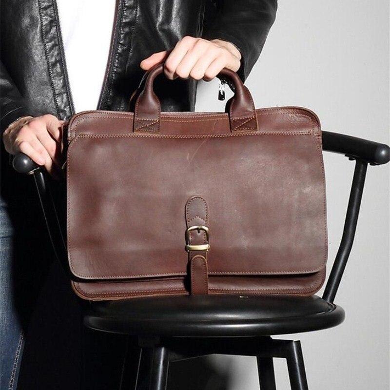 Men Briefcase Messenger Laptop Bag Genuine Leather Men Briefcase Business Travel Casual Shoulder Handbags