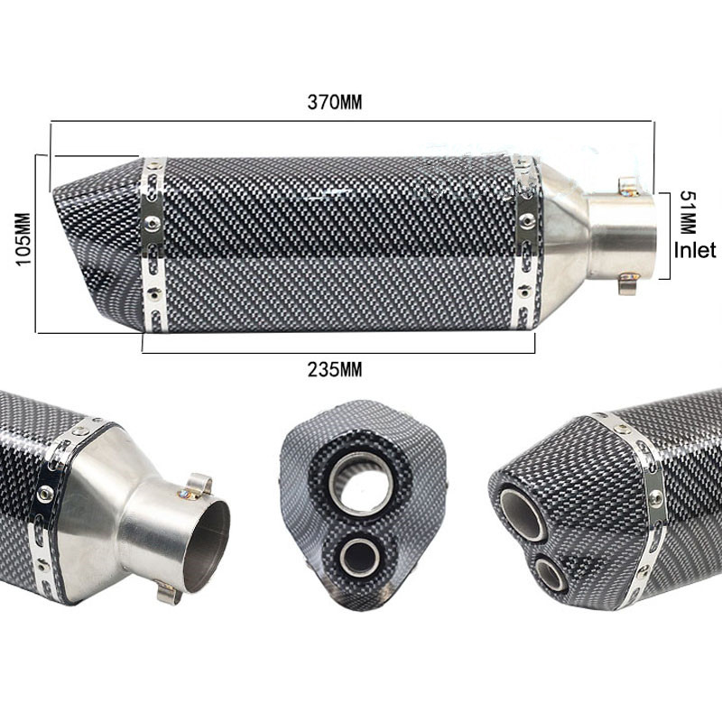 51mm moto modifier tuyau d'échappement silencieux carbone DB tueur pour SUZUKI GSX250 GSX550 GSX600 FJ-FV GN72A Katana GSXR1000 - 5