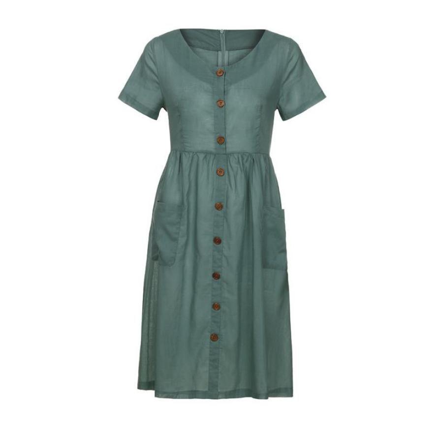FEITONG Buttons Pocket Short Sleeve Dress Women Loose Solid O Neck Casual Beach Dresses 2018 Summer Sundress Dress vestidos 0120