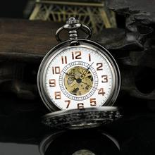 2015 New Cool Luxury Men Fashion Watch With Necklace Vintage Steampunk Hand Wind Mechanical Pocket Watch