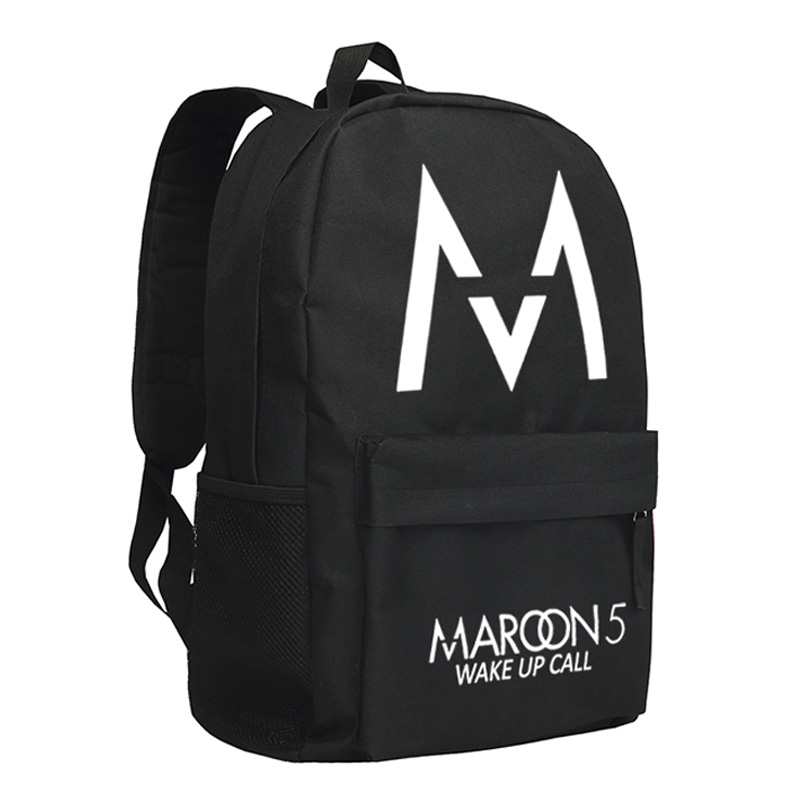 MeanCat Maroon 5 M Logo Wake Up Call Letters Printing on Oxford Nylon Packs Shoulder School Bags