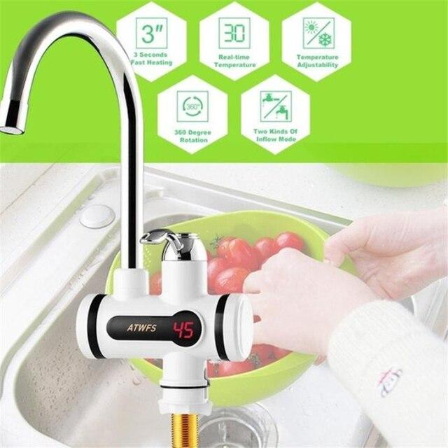 Aquecedor de água Tankless Aquecedor de Aquecimento Elétrico De Água Da Cozinha Torneira Display Digital Instantânea Torneira de Água Chuveiro 3000 W Interruptor Dual purpose