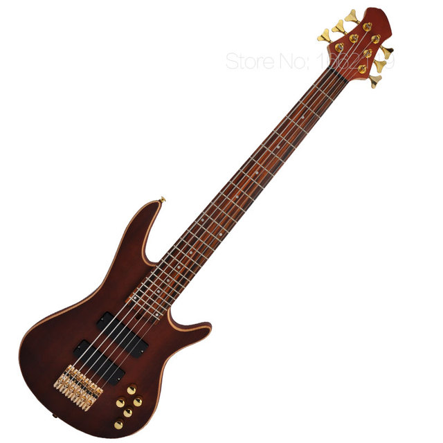 Cheap New arrival 6 string bass guitar Gold Accessories china Maple Solid Mahogany body Sapele Veneer Enlarge the volume line