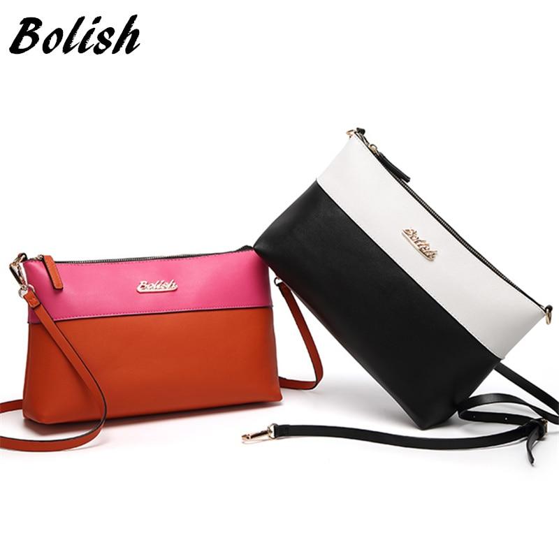Bolish Women Contrast Color PU Messenger Bag Female Vintage Daily Shopping Shoulder Bag Causal Designer All-Purpose Dames Tassen