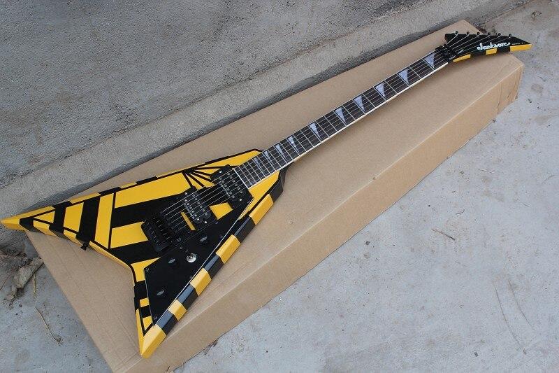 Livraison gratuite Custom Shop Seymour Duncan Micros Jackson Flying V jaune Guitare Électrique Meilleurs instruments Musicaux En Gros