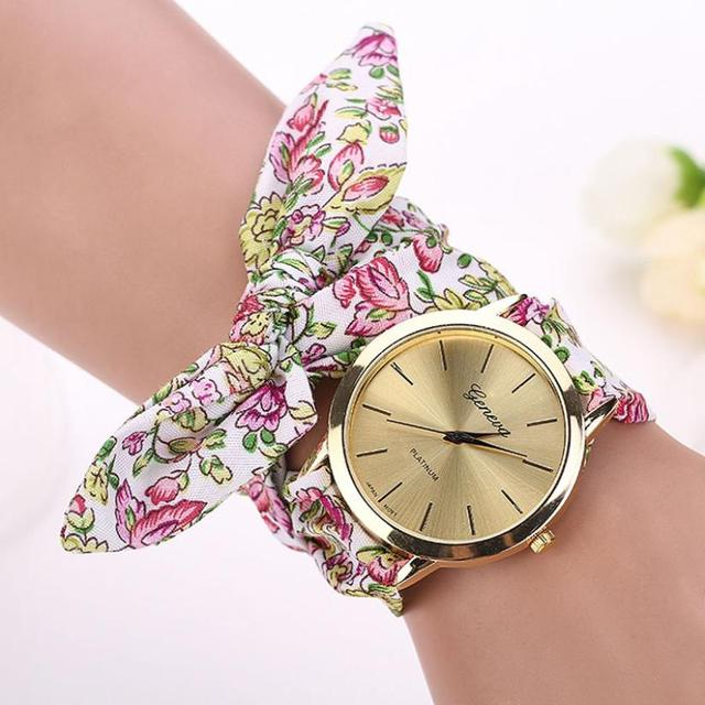 Montre 2018 Vogue Floral Strap Wristwatch Women's Jacquard Cloth Quartz Watch Women Geneva Bracelet Watches Relogio Feminino 2