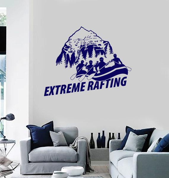 Removable Decal Hills View White Water Extreme Rafting English Quotes Mural Home Art Decor Extreme Sport Style Wallpaper Y-967