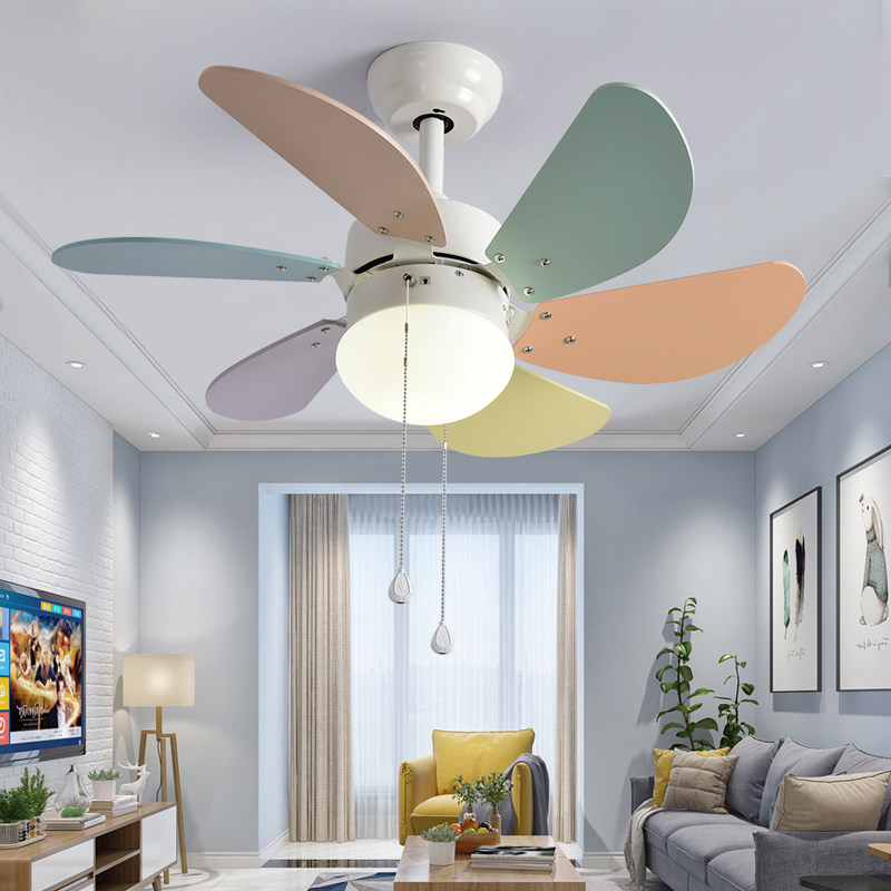 Ceiling Fans Lights & Lighting Modern Simple Colors Ceiling Fan Lamp Macaron Kids Room Living Room Led Iron Art Fan Lamp Colorful Fan Leaves Deco Pendant Lamp