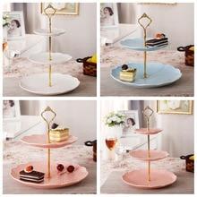 3 уровня формы для выпечки стойка с ручкой для тарелок для торта Корона фитинг Металл Свадебная вечеринка золотые кухонные аксессуары украшения торта инструменты
