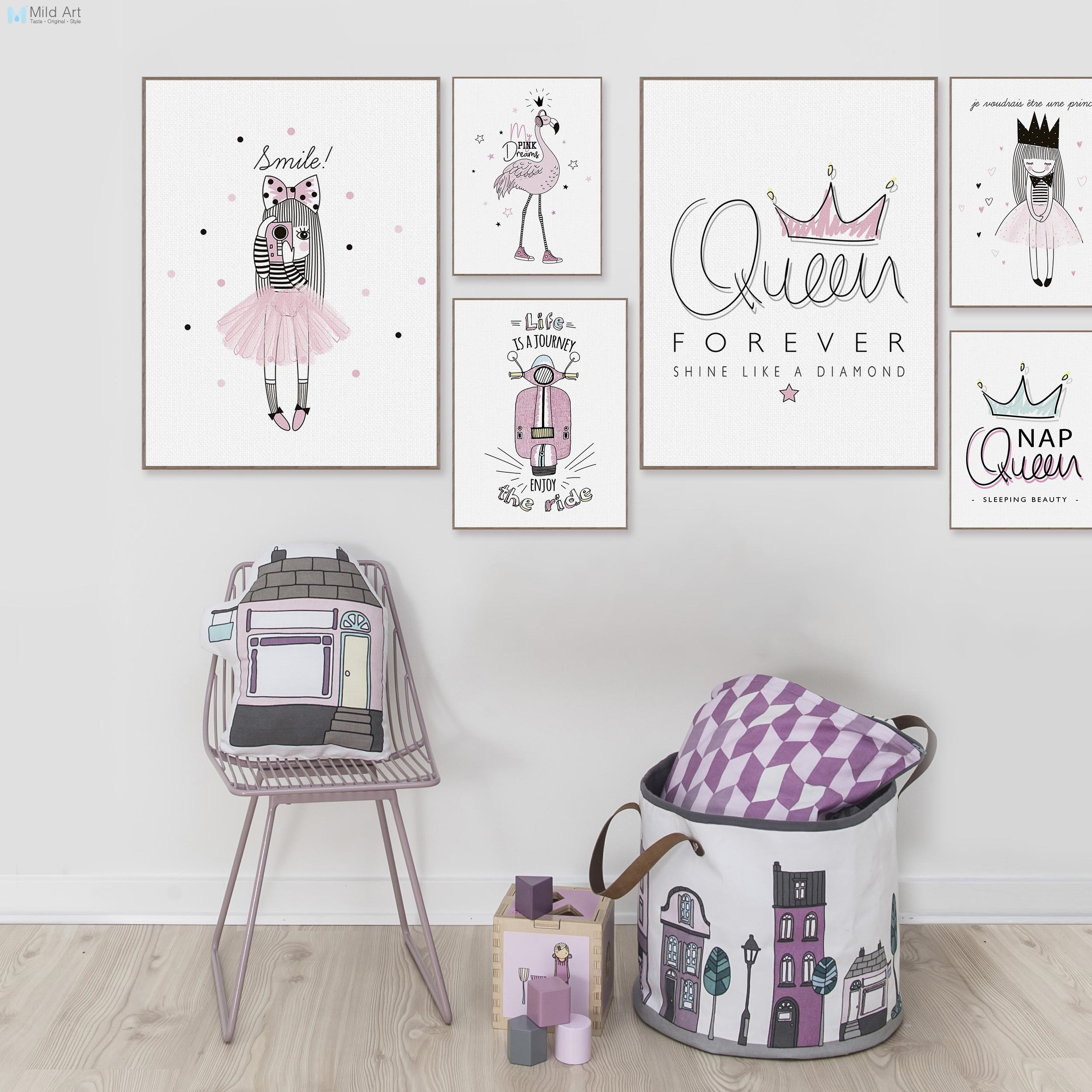 pink princess queen flamingo typography quotes posters and prints nordic girls room wall art. Black Bedroom Furniture Sets. Home Design Ideas