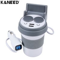 KANEED Dual Car Cigarette Lighter Socket Splitter Adapter LED Car Battery Voltage Display 3.1A Dual USB Fast Charge Phone Holder