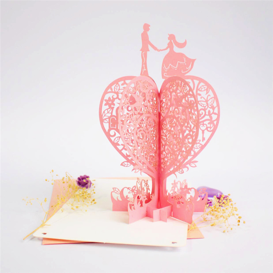 Lover Tree With Lover 3d Pop Up Greeting Cards Valentines Day