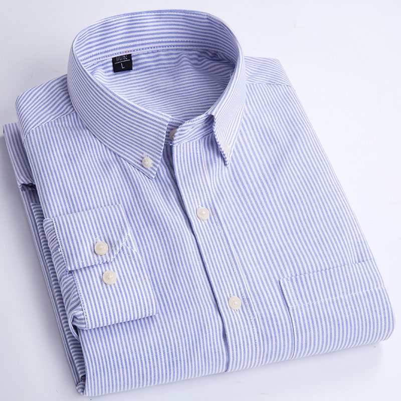 Autumn Spring Men's Long Sleeve Striped Shirt Large Size S M L XL 2XL 4XL 5XL Blue Red Fashion Business Casual Man Cotton Shirts