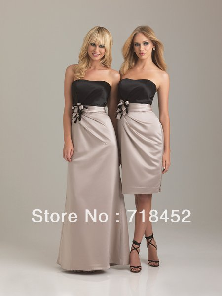 Hot Sale Multi Color Bridesmaid Dresses Stain Floor Length /Knee Length A Line Sashes with Flower Free Shipping SV281