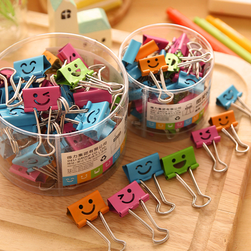 Lovely Smile Paper Clip Set 19mm 25mm Mini Metal Binder Clips For File Memo Clamp Index Stationery Office School Supplies F630