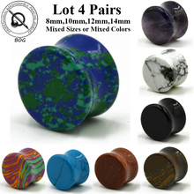 Lot 4 Pairs Ear Tunnel Plugs Gauges Expanders Double Flare Ear Saddle Earlobe Piecing Taper Stretecher Body Jewelry 0g 00g(China)