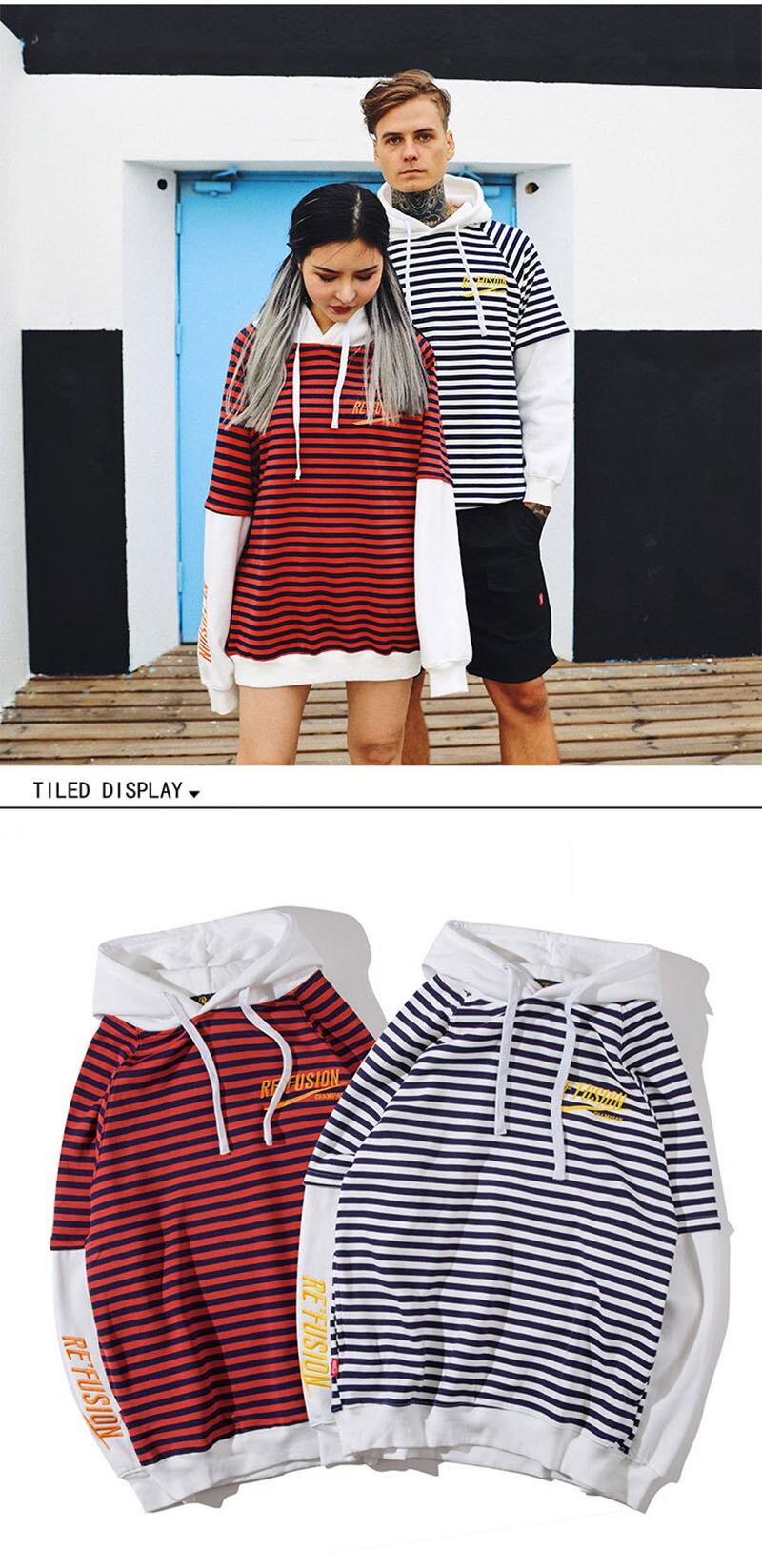 Aolamegs Male Sweatshirt Striped Hooded Sweatshirts O-Neck Pullover Loose Streetwear High Street Hip hop Fashion Winter Couple (14)