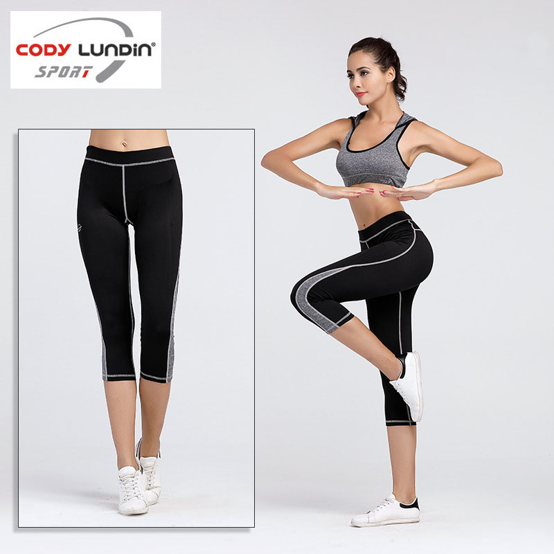 Codylundin Tight Elastic Short Cropped Women Leggings Pants Trousers Sportwear Yoga Fitness Jogging