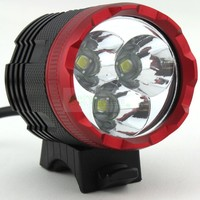 2 in1 Bike Light & Farol Farol 3 T6 3 x XM L LED 4000 Lumens Modo de Luz de Bicicleta À Prova D' Água + 8.4 v Bateria|headlight headlamp|xm-l t6 ledcree xm-l t6 led -