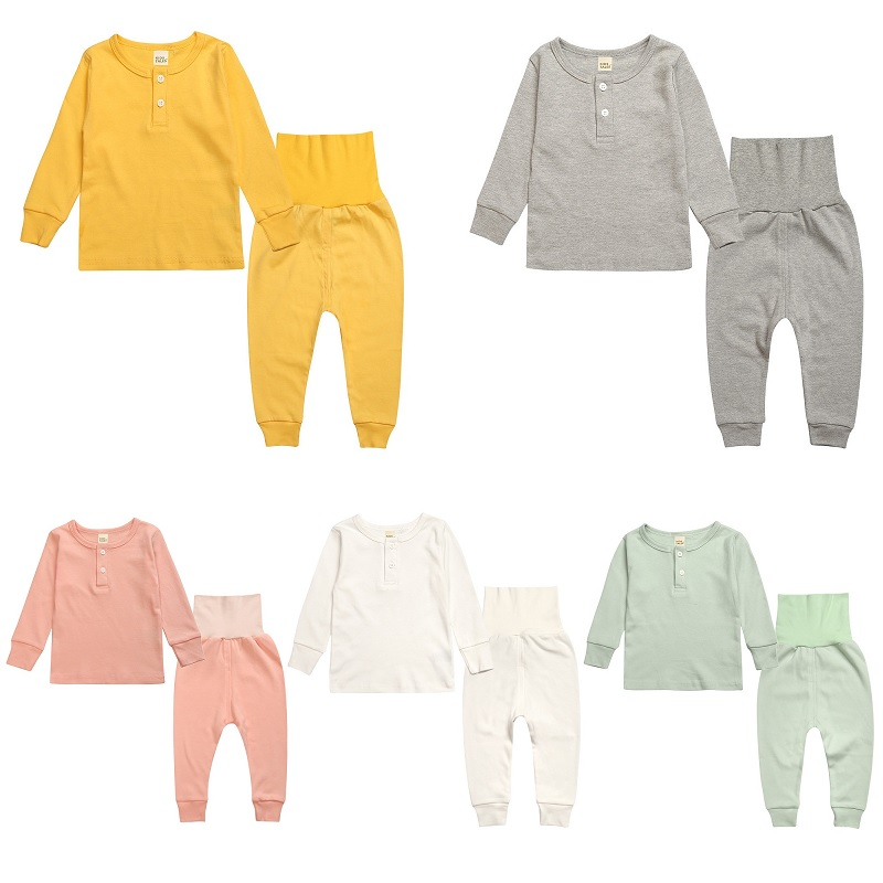 Hooyi High Waistline Children Pajamas Sets Baby Boys Sleepwear Clothes Suit Nursing Belly Solid Color Girls PJS T-Shirt + Pant