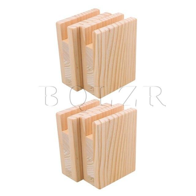 BQLZR 10x5x13.2cm עץ שולחן שולחן מיטת רצועות מעלית מתאמן ריהוט אחסון עבור 2CM חריץ רגליים עד 10CM מעלית חבילה של 4