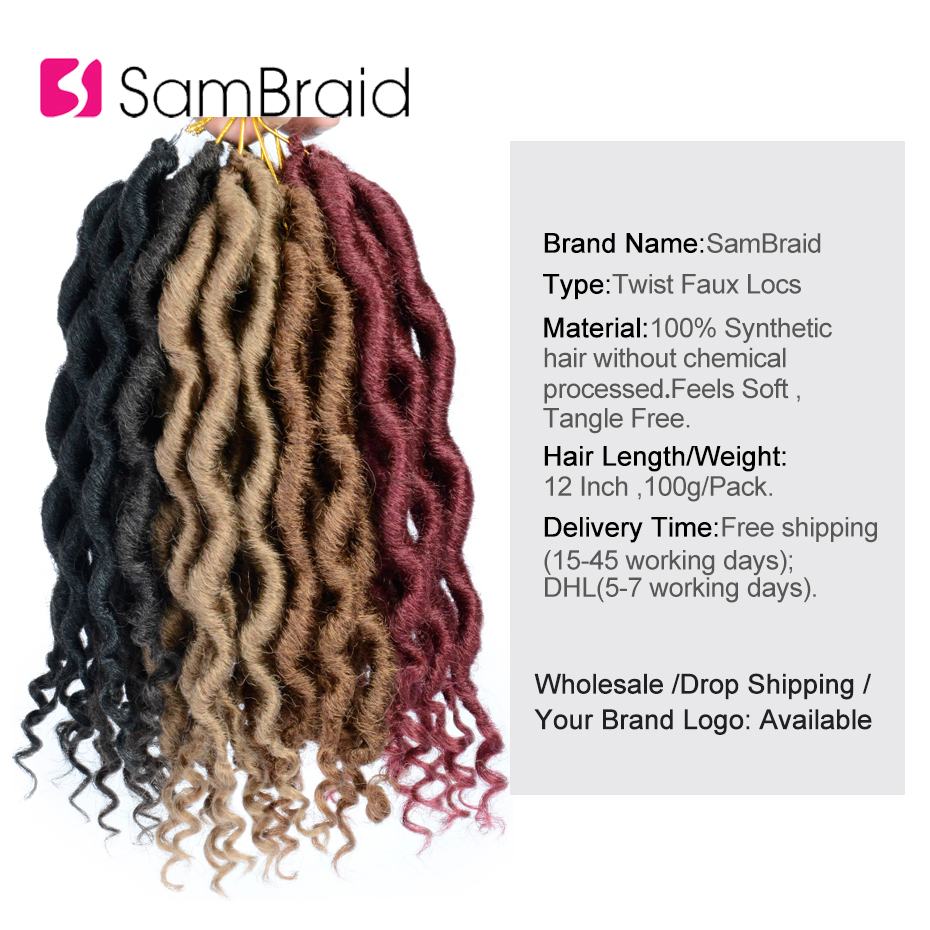 SAMBRAID Goddess Faux Locs Crochet Hair Synthetic Hair Crochet Braiding Hair Extensions 12 Inch For Black Women in Curly Dreadlocs from Hair Extensions Wigs