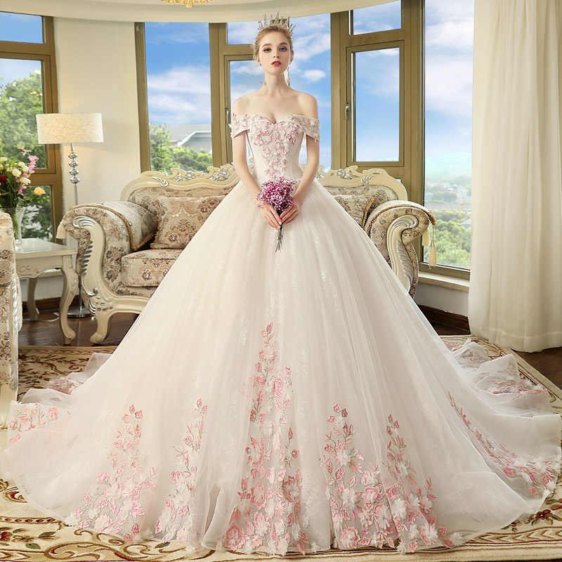 As Mulheres grávidas Gravidez Maternidade Vestidos de Casamento 2018 Nova Noiva Se Casou Com Ombro Palavra Sonho Da Princesa Cauda Longa do vestido de Casamento Simples