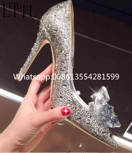 ФОТО 2017 Fashion Wedding Shoes Shallow Flower Crystal Decoration Pointed Toe Slip-On New Arrival Spring Autumn  Bling Wedding Pumps
