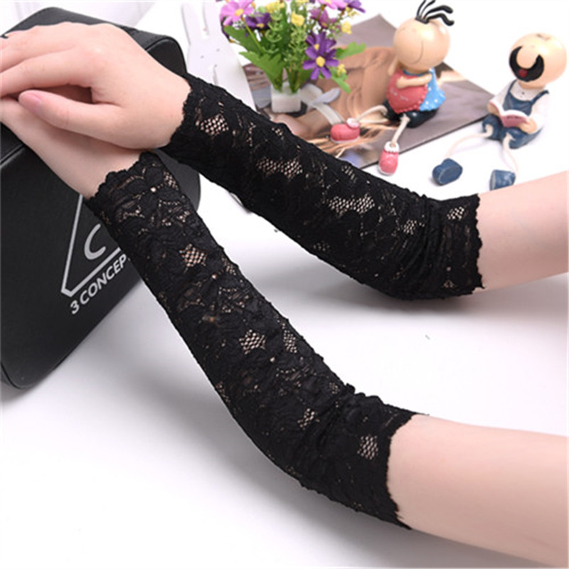 Women lace scar covers uv sun protection driving gloves for Lace glove tattoo