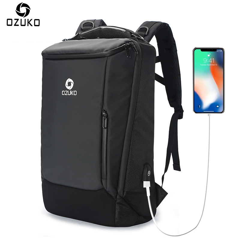 OZUKO Brand Busines Men Backpack USB 17inch Computer Laptop Backpack Fashion Schoolbag Multifunction Waterproof Travel Backpack