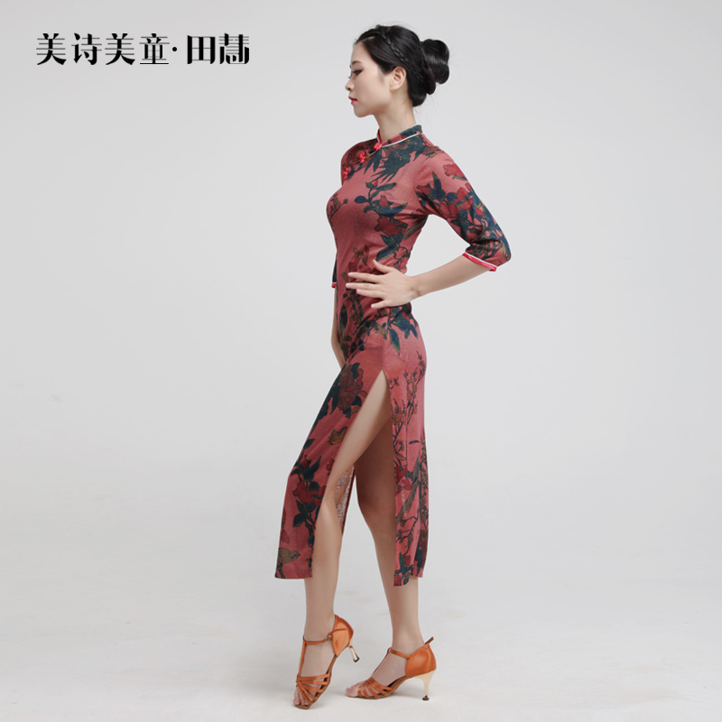 Chinese sexy style fashion high elastic print Latin dance dress practice  clothes performance clothing freeshipping hot sale-in Latin from Novelty    Special ... a714eb258