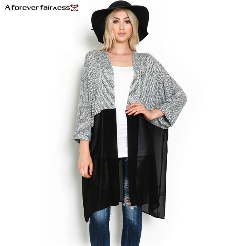 A Forever 2019 Women Kimono Cardigan Knitted Chiffon   Blouse     Shirt   Female Long Casual Chiffon Cardigans Kimonos XS-3XL AFF440