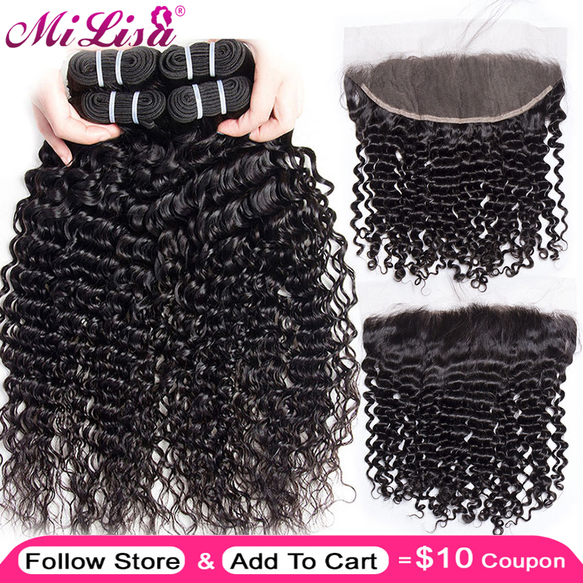 Mi Lisa Deep Wave 3 Bundle With Frontal Brazilian Human Hair Weave Bundle With Closure Remy Lace Frontal Closure With Bundles(China)