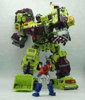 6 IN 1 New NBK Devastator Transformation Toys Robot Car KO G1 Excavator Crane Model Green Combination Action Figure Toys