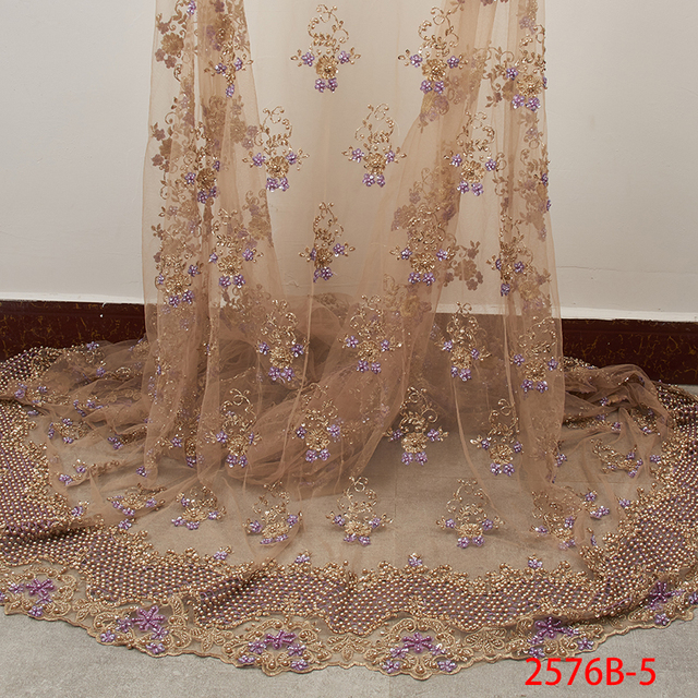Embroidery French Net Lace Fabric High Quality 3D Handmade Beads Tulle Lace African Lace Fabric for Nigerian Party APW2576B 1