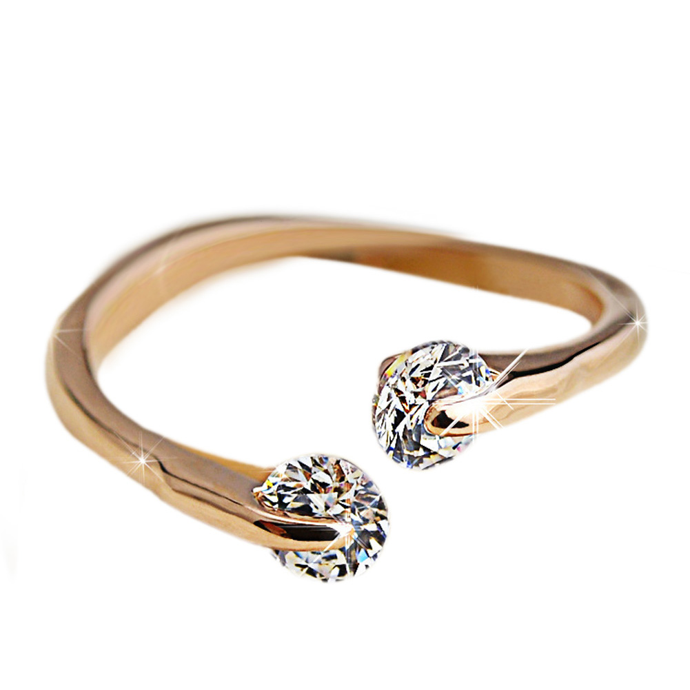 OL Style Adjustable Twin Crystal Ring Rose Gold Color Engagement/Wedding Crystal Rings For Women
