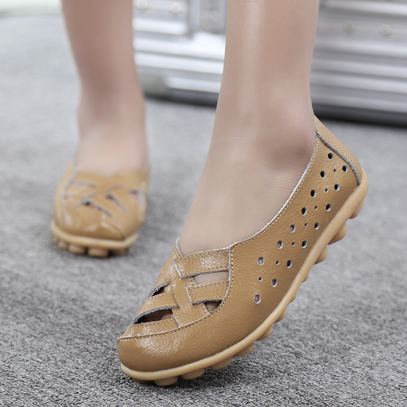 Women Flats Genuine Leather Shoes Slip On Ballet Flats Moccasins Loafers Hollow Ballerina Shoes Women Fashion Casual 2019 New