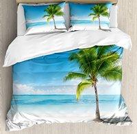 Landscape Duvet Cover Set , Caribbean Maldives Beach Island Sea Ocean Palm Trees Artwork Print, 4 Piece Bedding Set