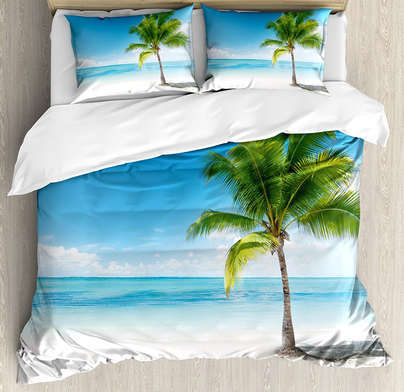 Landscape Duvet Cover Set , Caribbean Maldives Beach Island Sea Ocean Palm Trees Artwork Print, 4 Piece Bedding Set