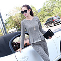 High End  2016 Spring Fashion Work Wear Women Pant Suits Casual Slim Long Sleeve Two-piece Sets Plaid Women Sets Outfits XXL