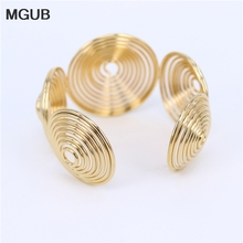 MGUB  Gold color 43mm wide  adjustable stainless steel  Exaggerated simple Bangles bracelet men and women jewelry LH511