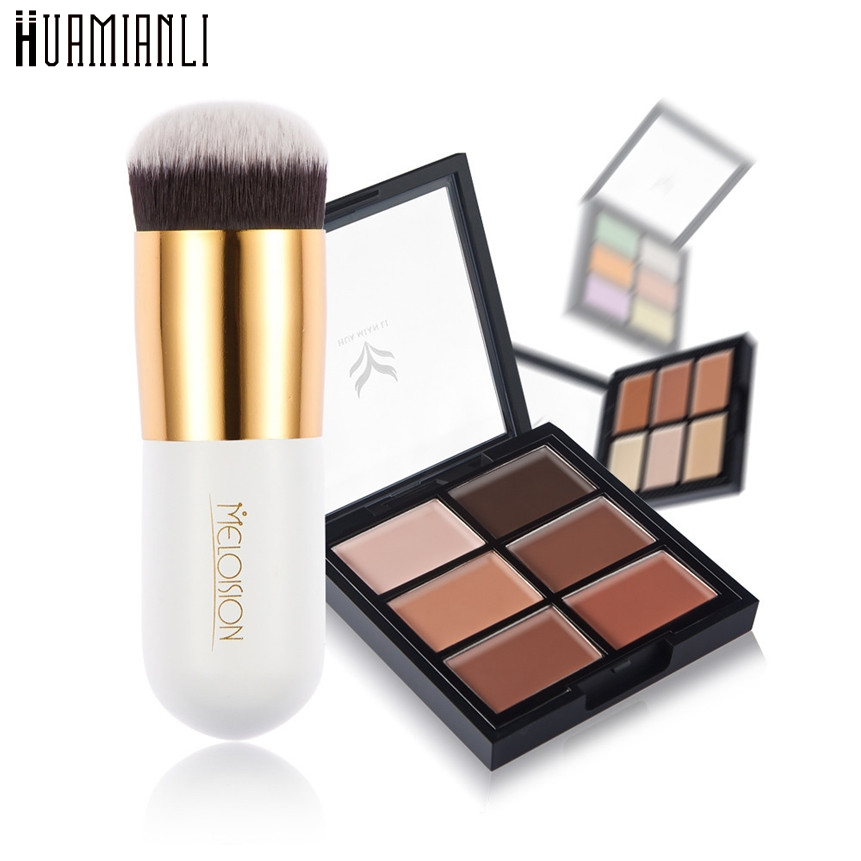 Huamianli Love Beauty Cosmetic Makeup Set 6-Color Concealer Foundation Primer+Short White Foundation Brush 161124 Drop Shipping