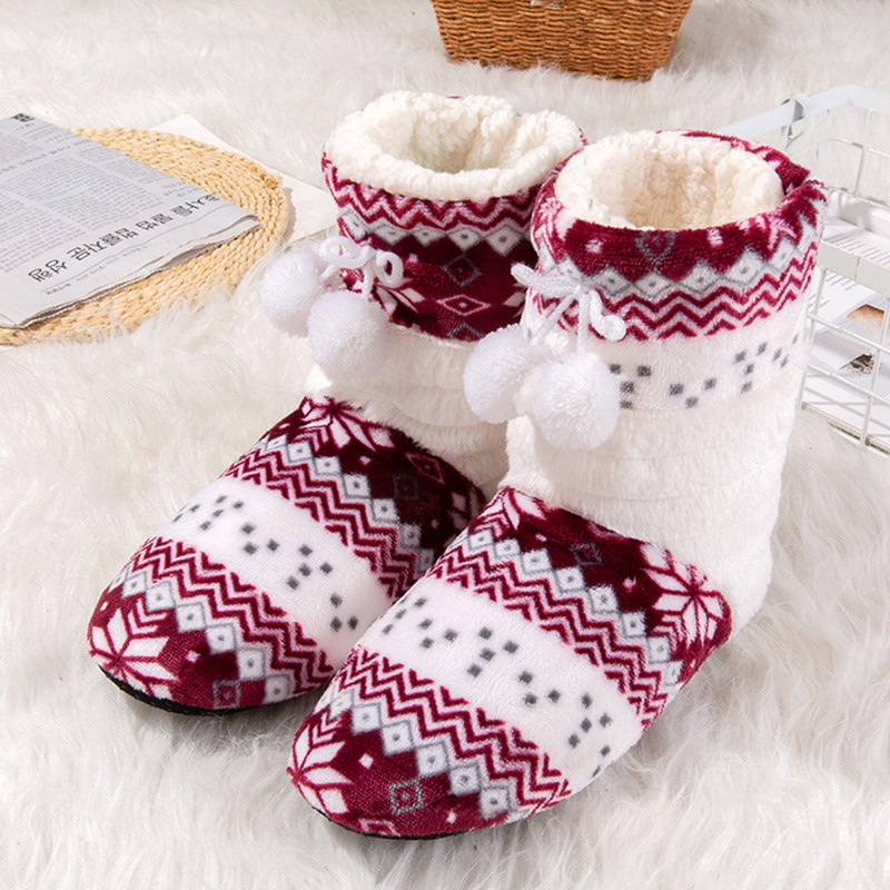 Suihyung Women Winter Warm Flat Shoes Home Slippers Indoor Flock Shoes Bedroom Non-slip Soft Bottom Cotton Botas Plush Slip On women s winter furry slippers home non slip soft couples cotton thick bottom indoor warm rubber clogs woman shoes